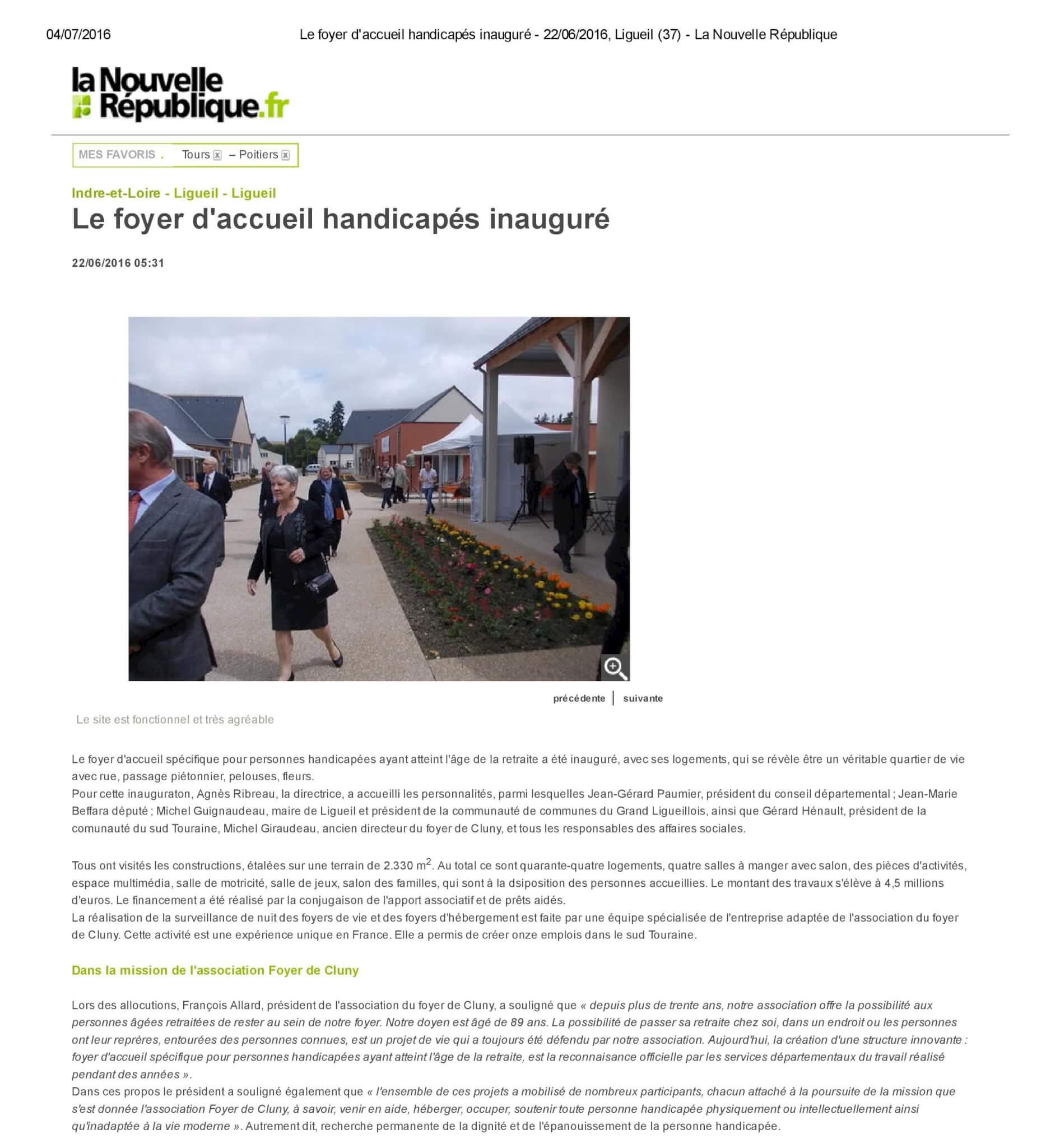 Le foyer d accueil handicapés inauguré - 22_06_2016, Ligueil (37) - La Nouvelle République-page-001